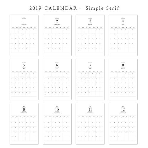 2019 아트 캘린더 달력 CALENDAR 11 Simple Serif