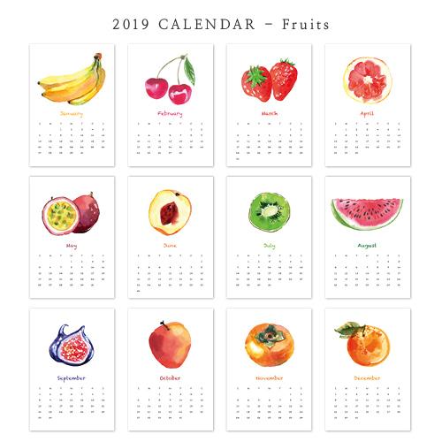 2019 아트 캘린더 달력 CALENDAR 16 Fruits