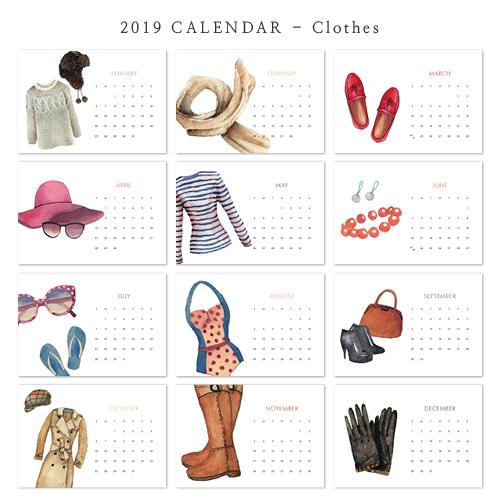 2019 아트 캘린더 달력 CALENDAR 17 Clothes