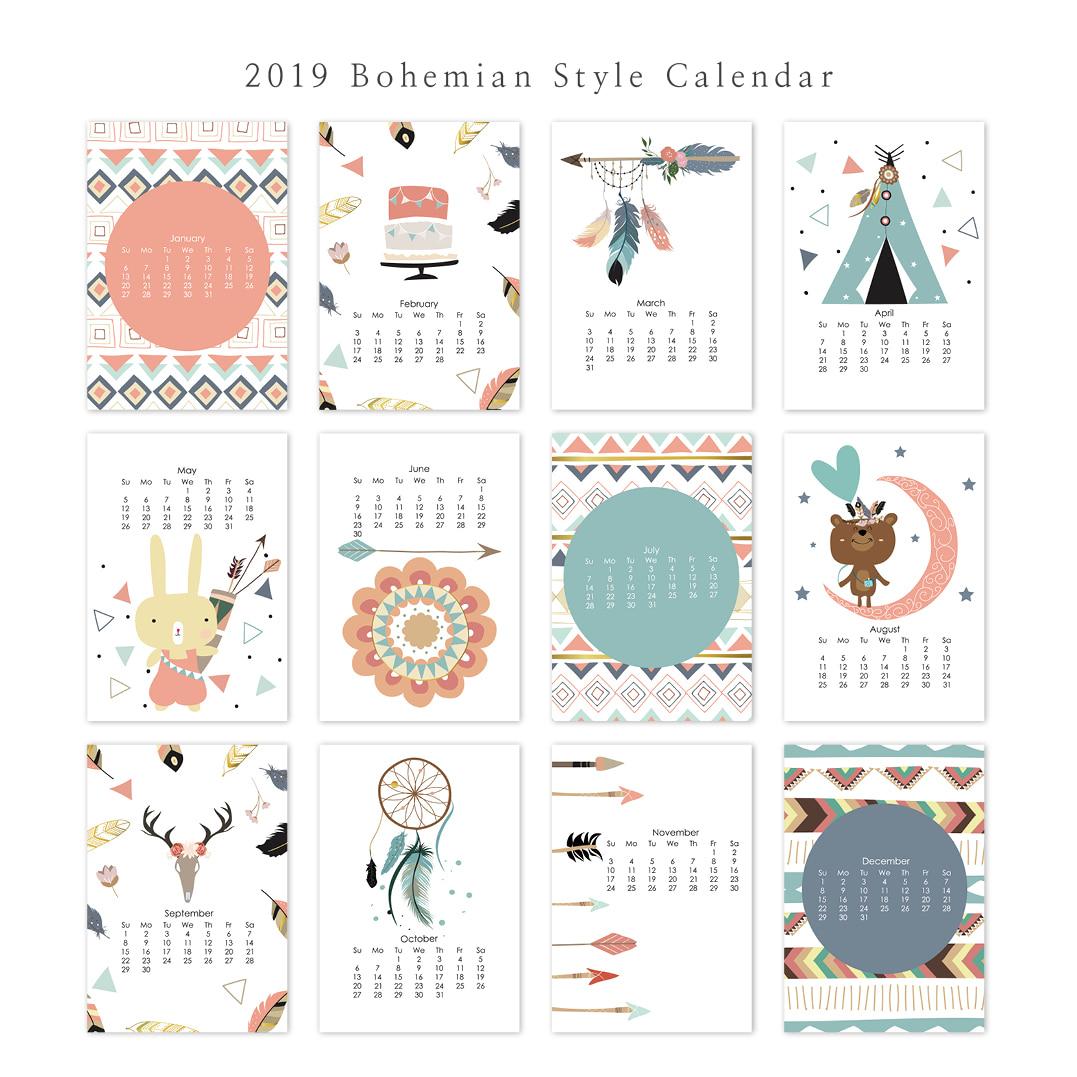 2019 달력 CALENDAR 24 Bohemian Style