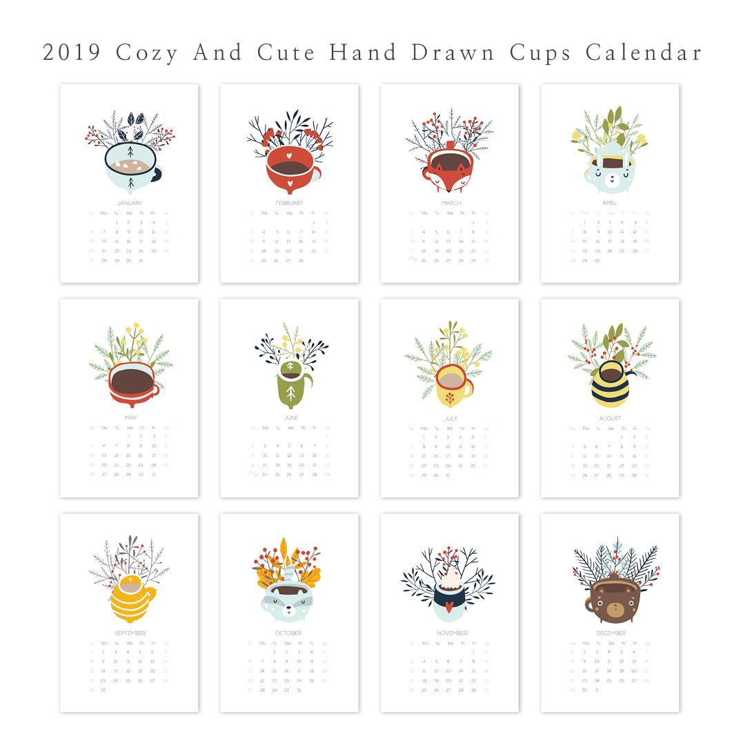 2019 달력 CALENDAR 25 Cozy and Cute Hand Drawn Cups