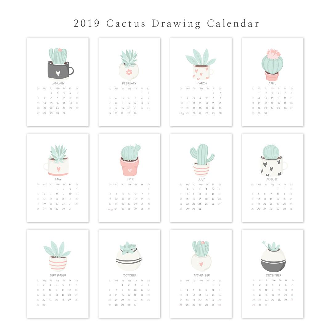 2019 아트 캘린더 달력 CALENDAR 26 Cactus Drawing