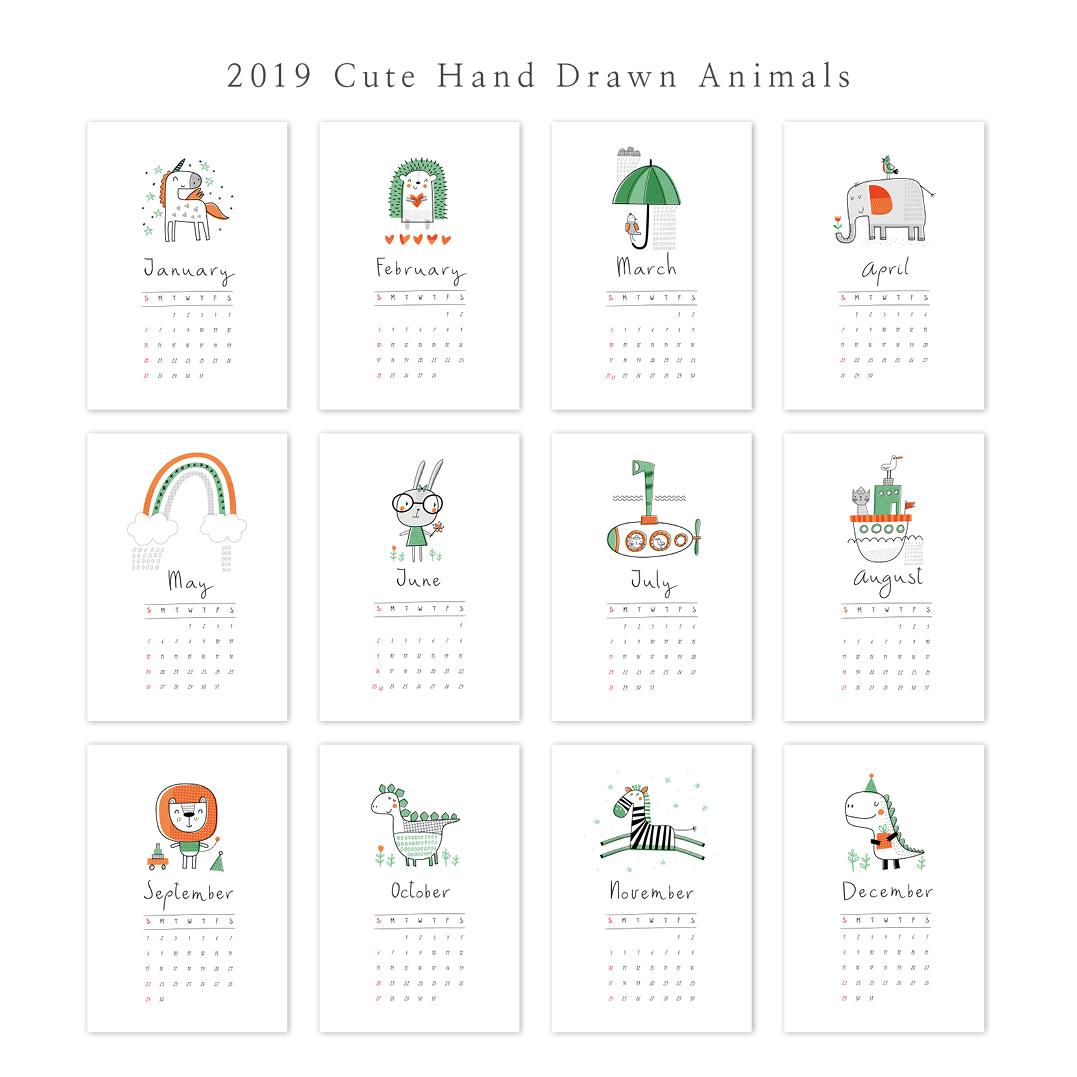 2019 아트 캘린더 달력 CALENDAR 27 Cute Hand Drawn Animals