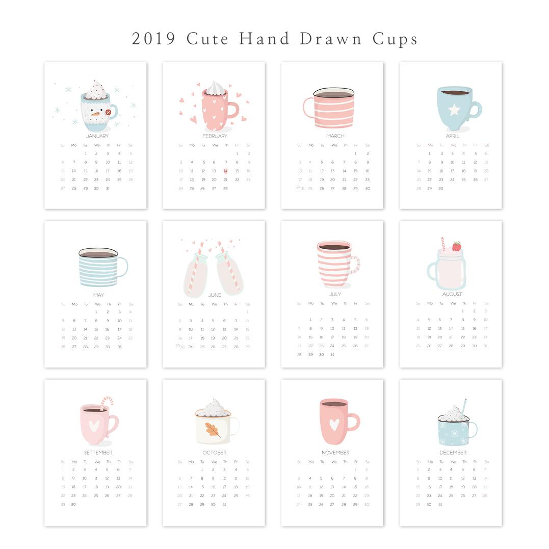 2019 아트 캘린더 달력 CALENDAR 28 Cute Hand Drawn Cups