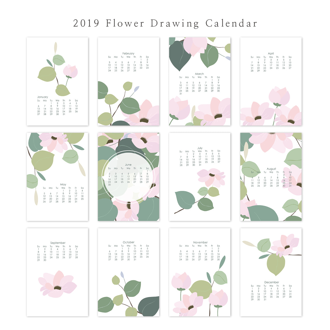2019 아트 캘린더 달력 CALENDAR 30 Flower Drawing