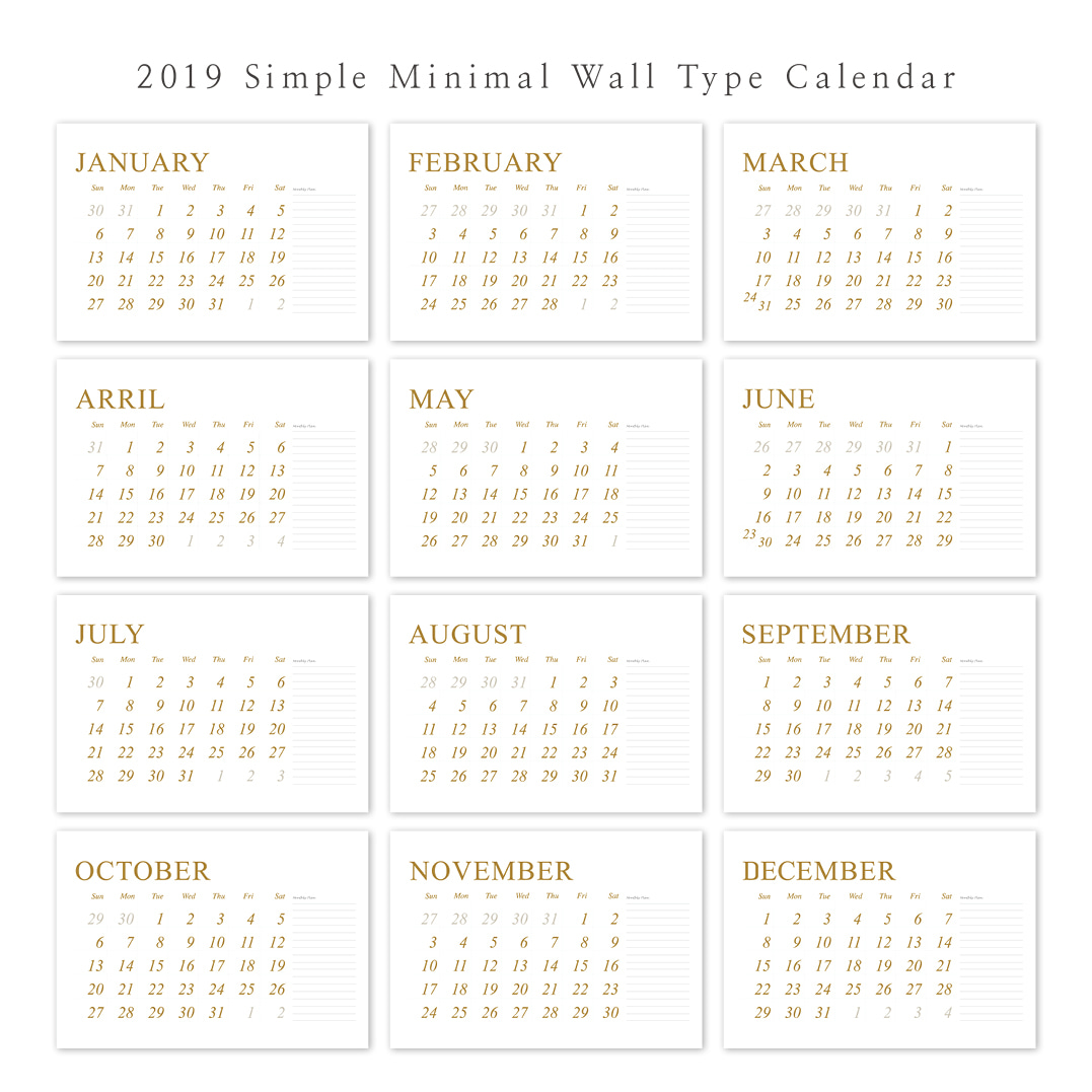 2019 아트 캘린더 달력 CALENDAR 33 Simple Minimal Wall Type
