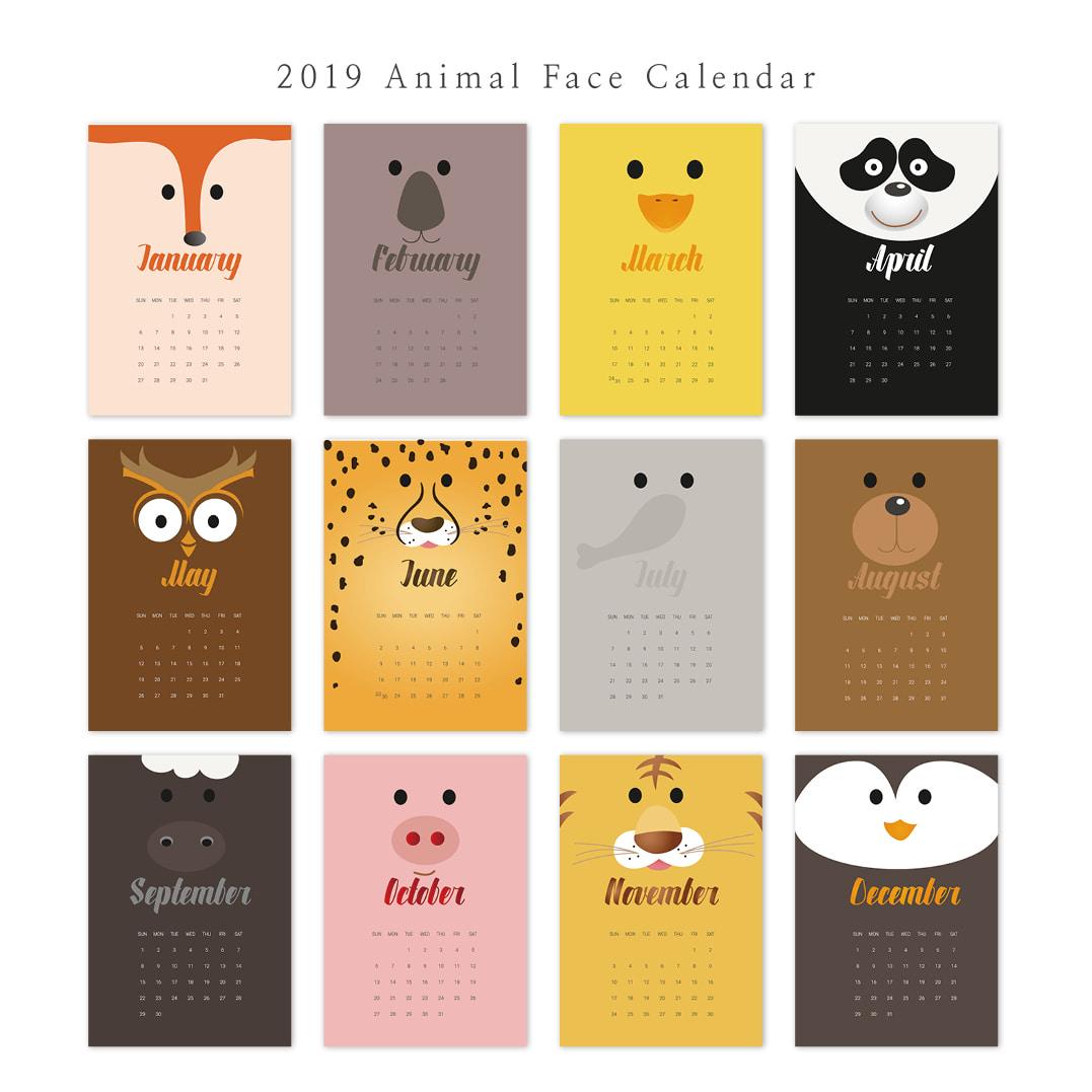 2019 아트 캘린더 달력 CALENDAR 35 Animal Face